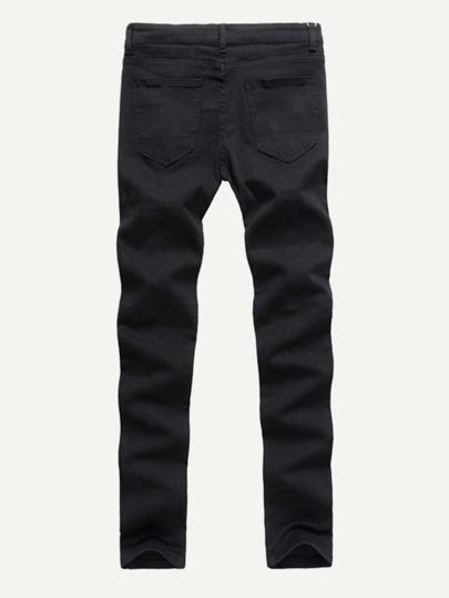 Men Zip Decoration Destroyed Jeans