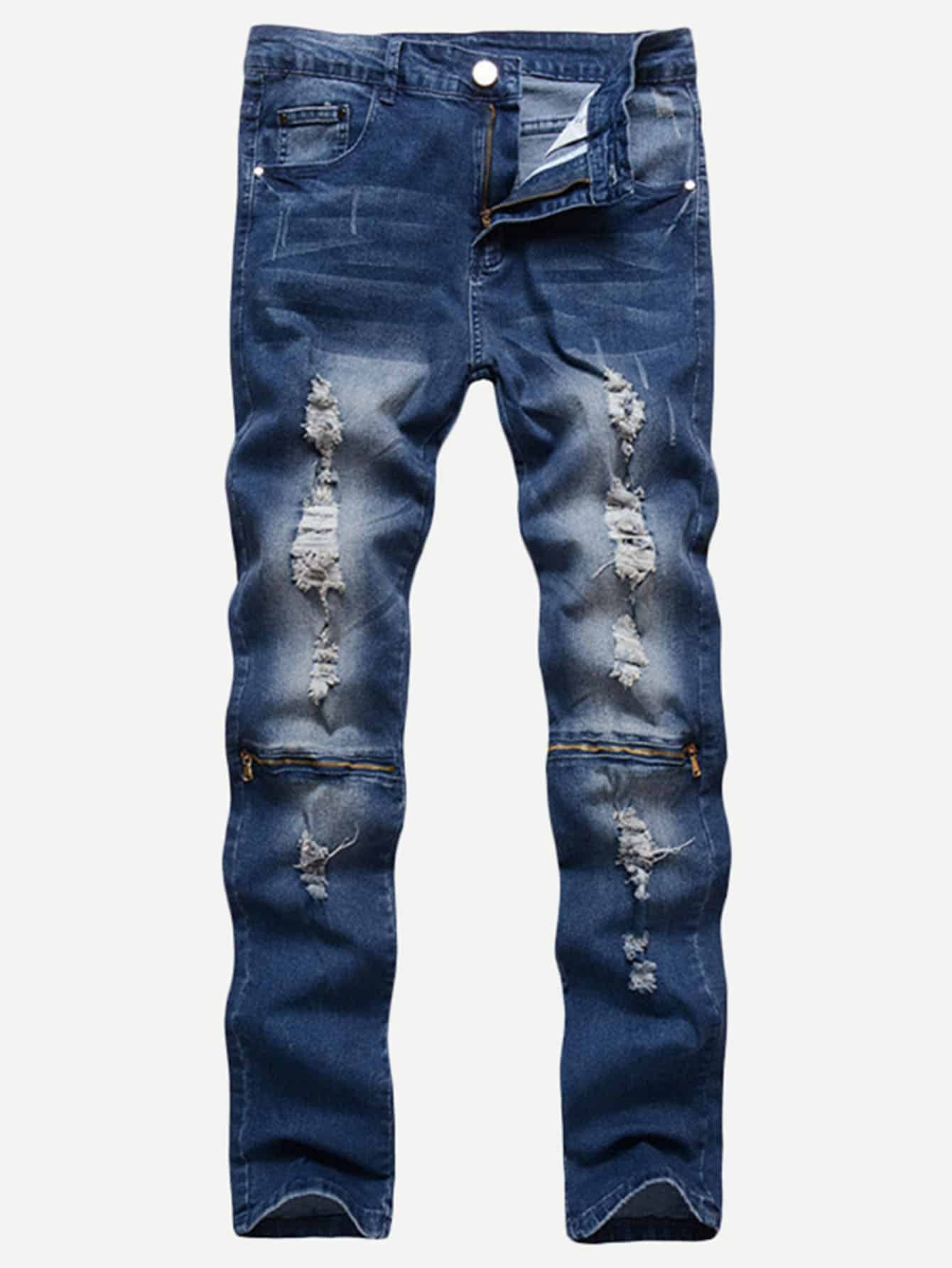 Men Zip Decoration Destroyed Jeans nostalgia retro design fashion men jeans european stylish dimensional knee frayed hole destroyed ripped jeans men biker jeans
