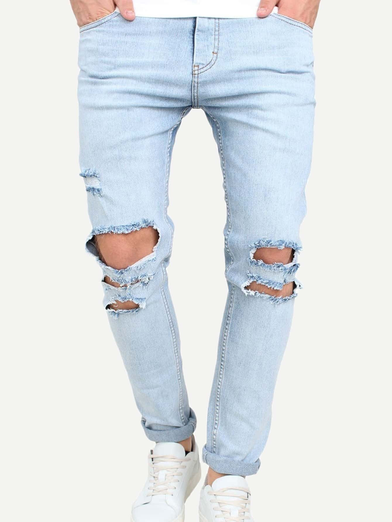 Men Destroyed Rolled Hem Jeans nostalgia retro design fashion men jeans european stylish dimensional knee frayed hole destroyed ripped jeans men biker jeans