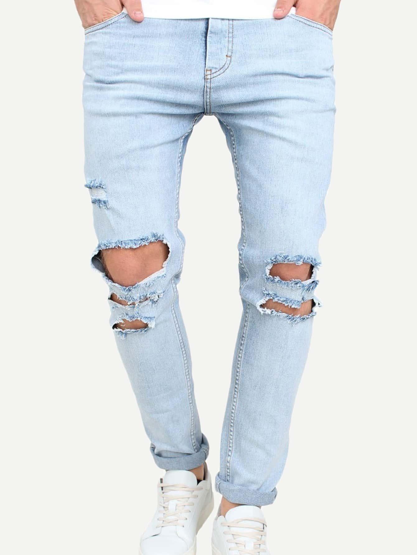 Men Destroyed Rolled Hem Jeans solid rolled hem pants