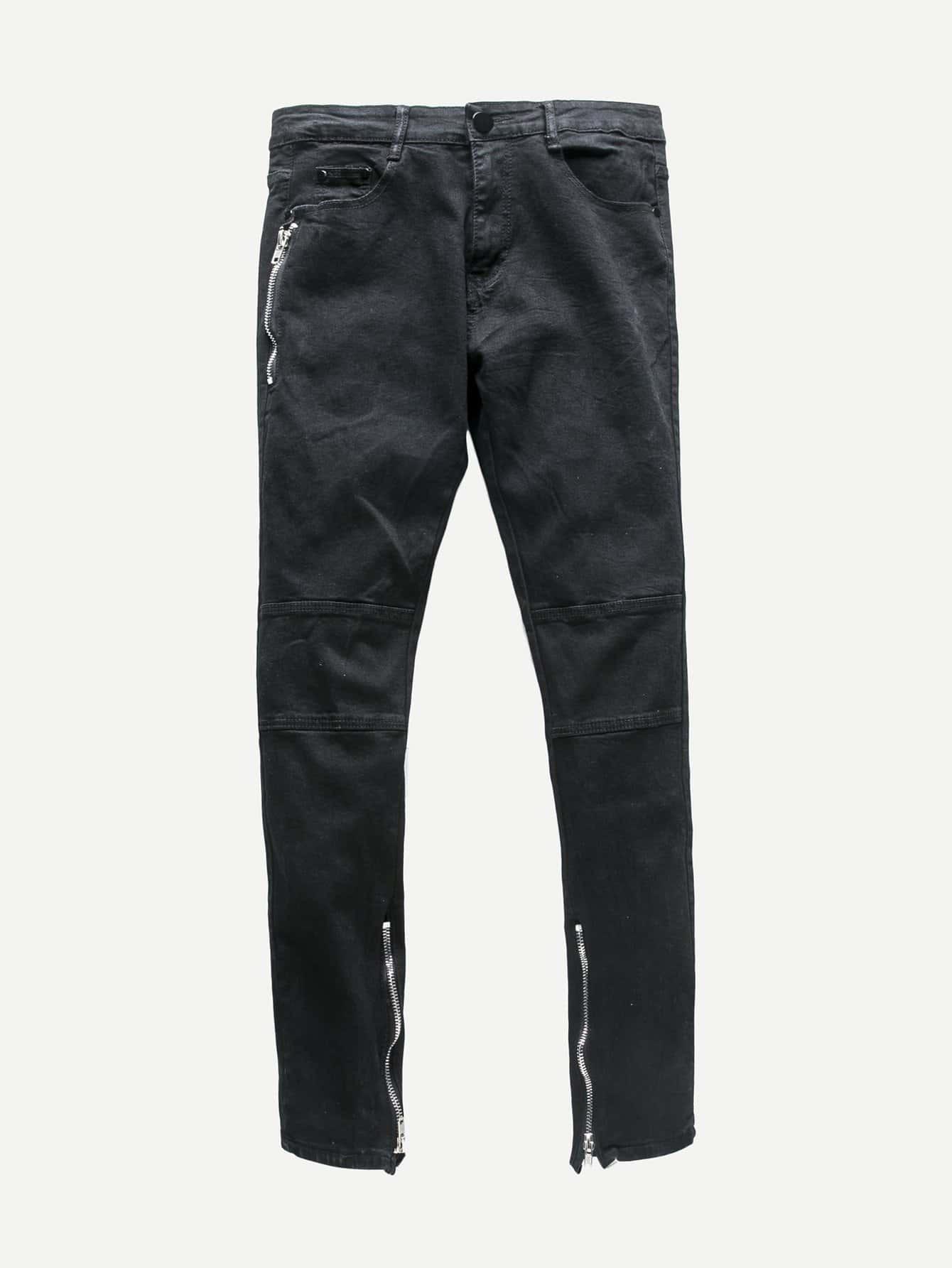 Men Zip Decoration Skinny Jeans 2017 new men s classic jeans straight full length casual hip hop zip pocket biker jeans fashion slim skinny jeans men big sizes