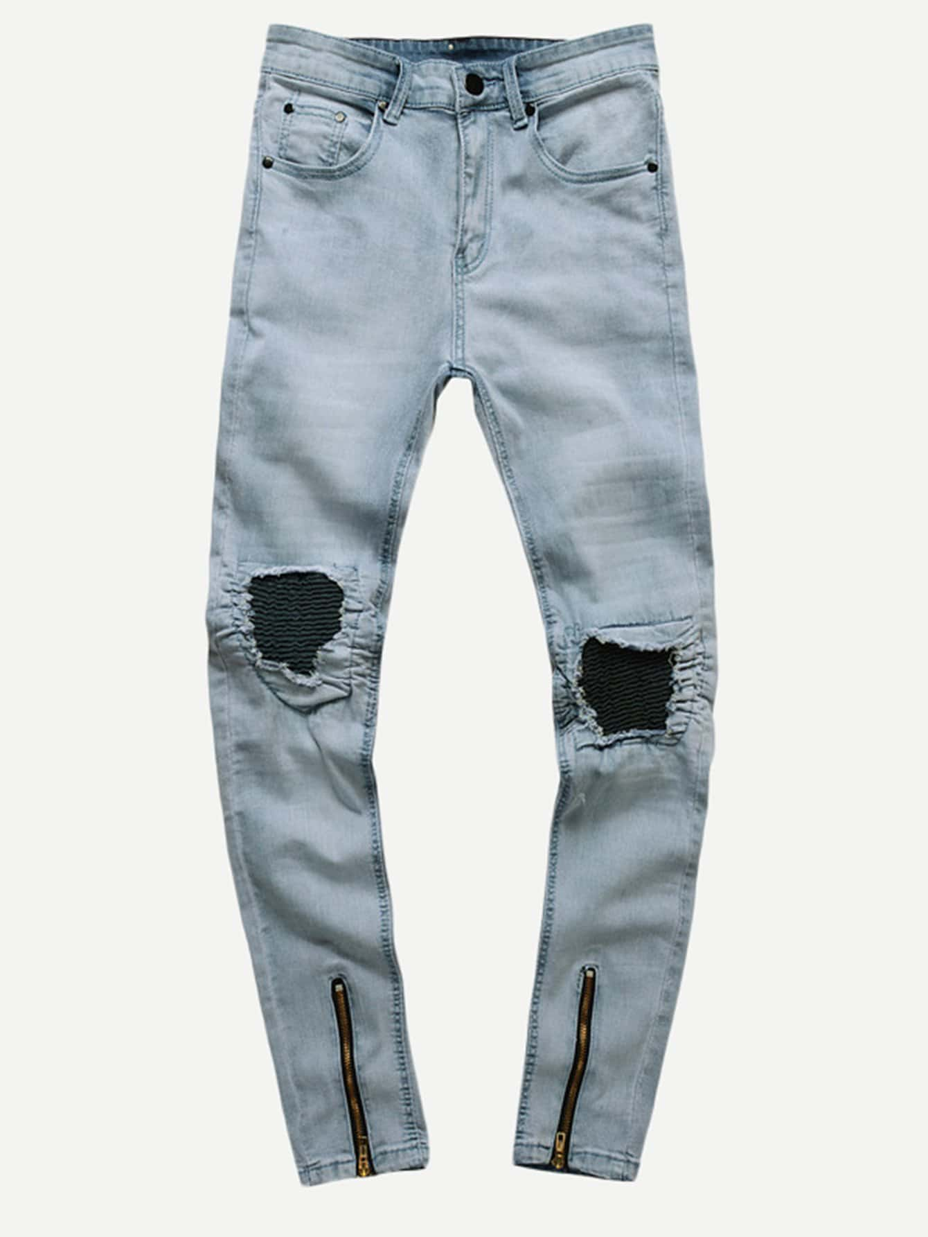 Men Zip Decoration Destroyed Skinny Jeans 2017 new new distressed men jeans slim elastic hip hop zip pocket jeans men casual biker jeans straight denim skinny men big siz