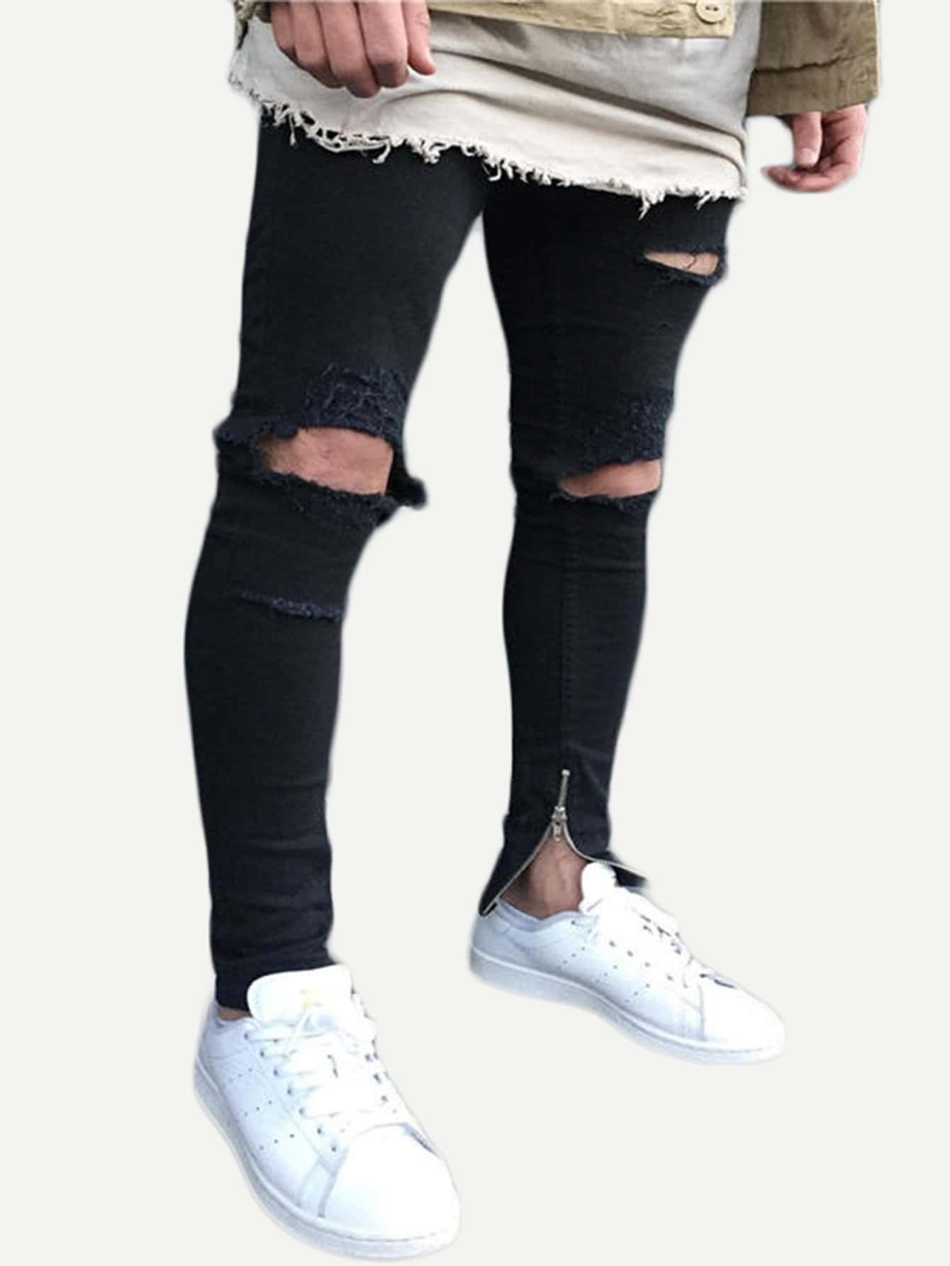 Men Zip Decoration Destroyed Skinny Jeans hot 2017 blue ripped jeans men with holes cowboy super skinny famous designer brand slim fit destroyed torn jean pants for male