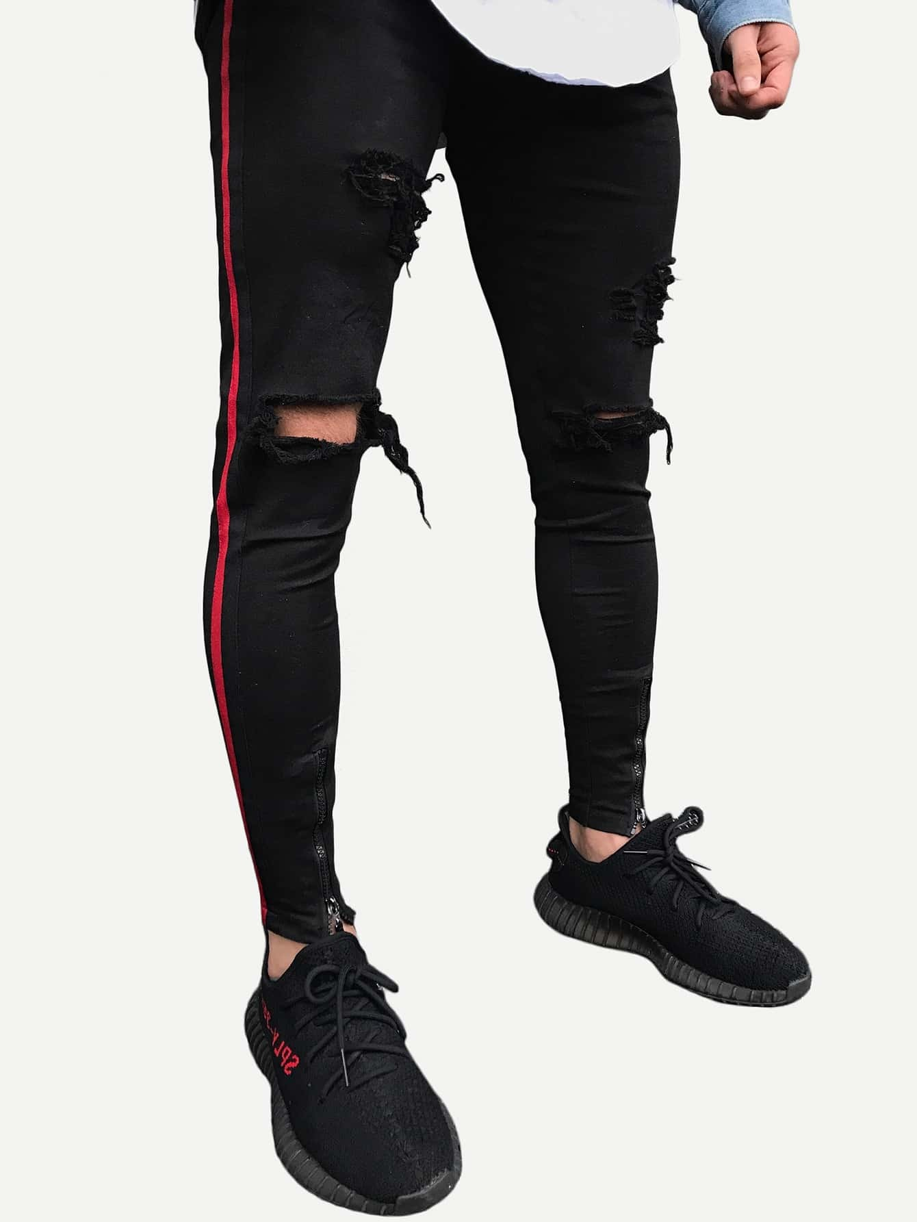 Men Zip Decoration Tape Destroyed Skinny Jeans hot 2017 blue ripped jeans men with holes cowboy super skinny famous designer brand slim fit destroyed torn jean pants for male