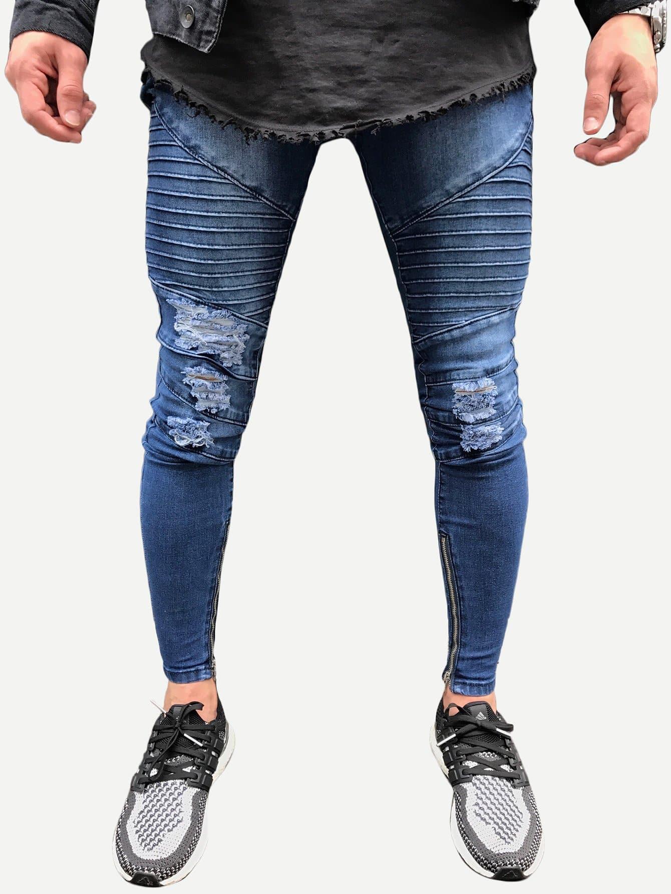 Men Zip Decoration Destroyed Skinny Jeans men s classic jeans straight full length casual hip hop zip pocket biker jeans fashion slim skinny jeans men big sizes 29 42