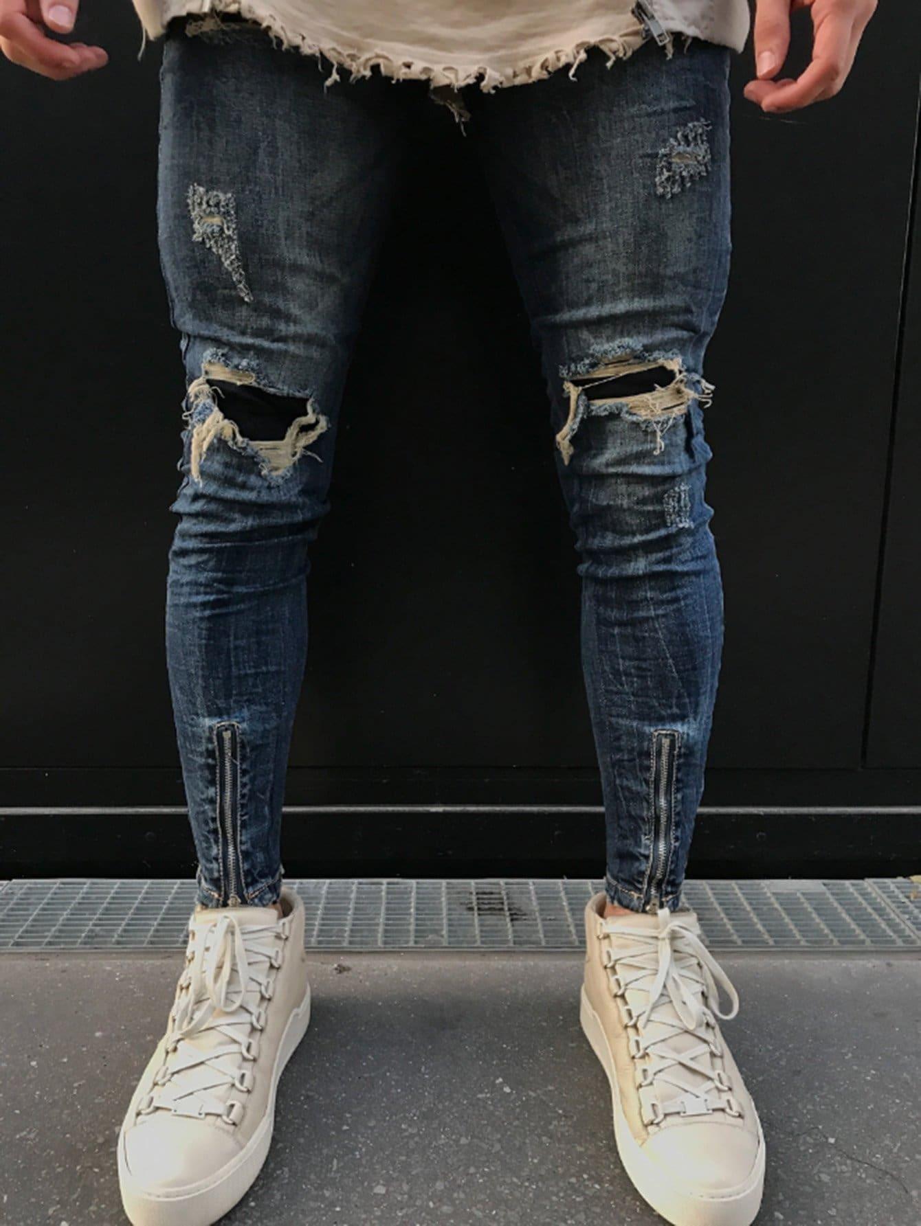 Men Zip Decoration Destroyed Skinny Jeans zip back skinny pants