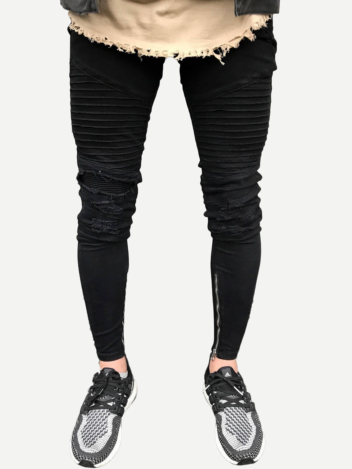 Men Zip Decoration Destroyed Skinny Jeans 2017 new men s classic jeans straight full length casual hip hop zip pocket biker jeans fashion slim skinny jeans men big sizes