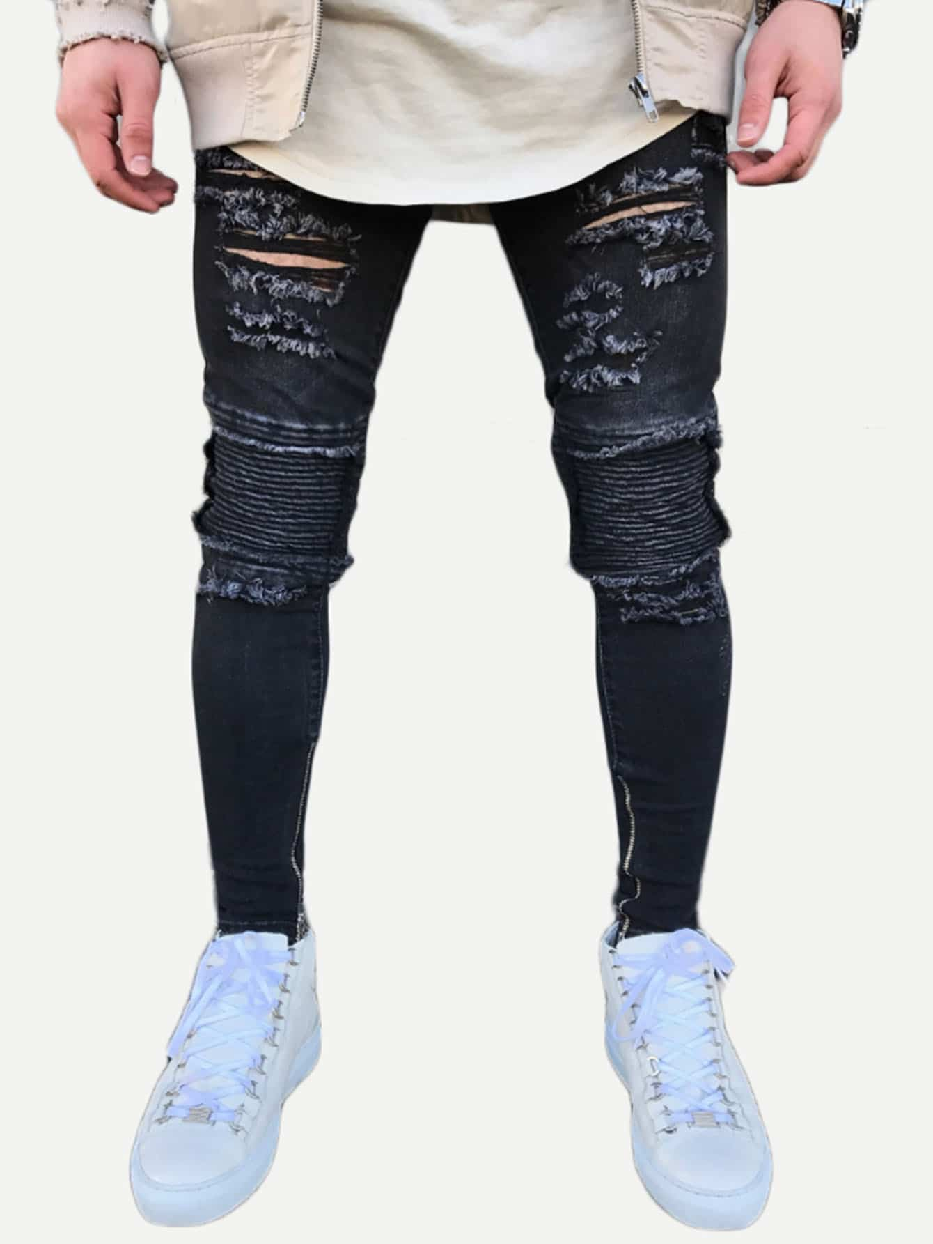 Men Zip Decoration Destroyed Skinny Jeans nostalgia retro design fashion men jeans european stylish dimensional knee frayed hole destroyed ripped jeans men biker jeans
