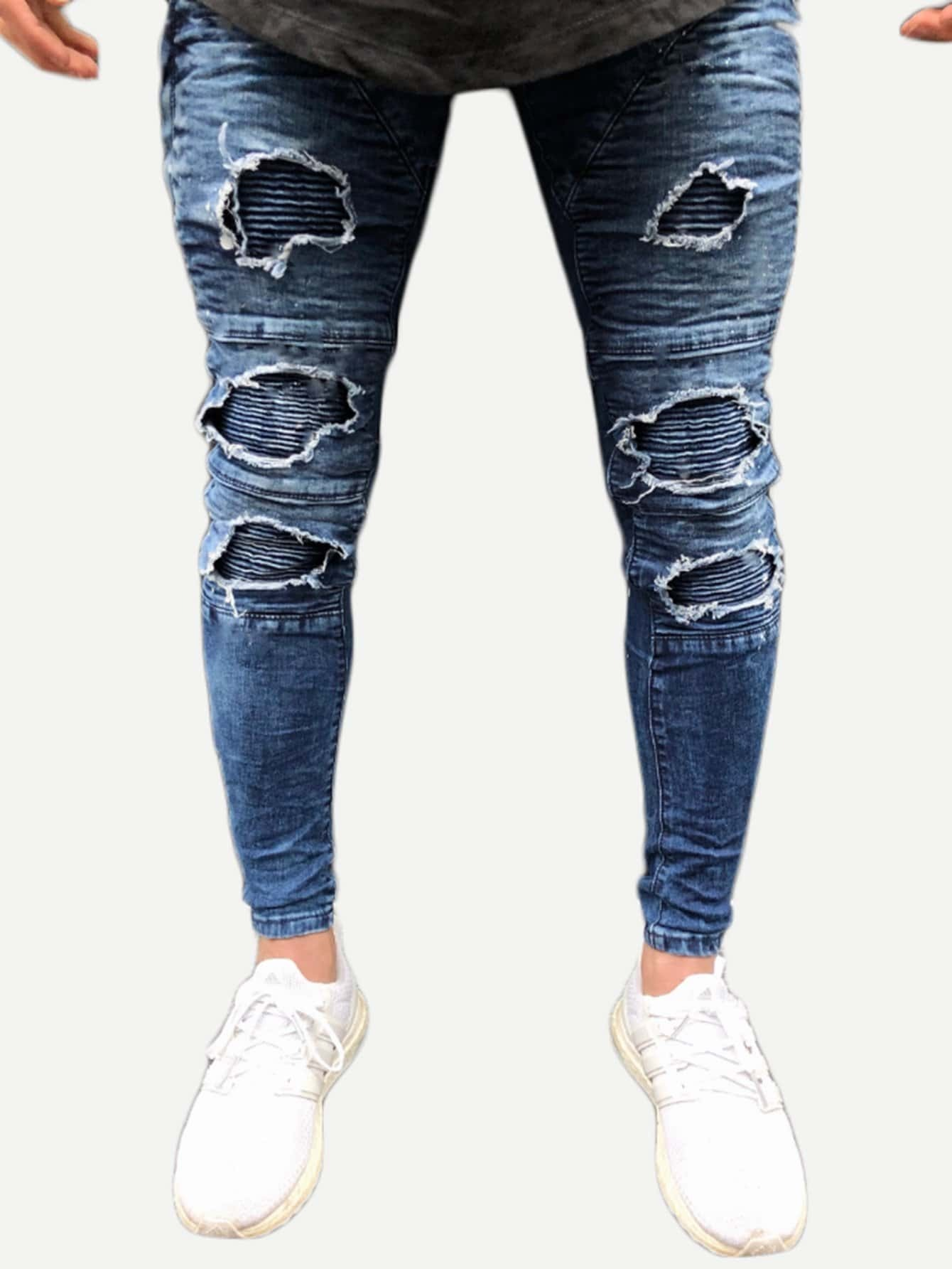 Men Destroyed Skinny Jeans nostalgia retro design fashion men jeans european stylish dimensional knee frayed hole destroyed ripped jeans men biker jeans