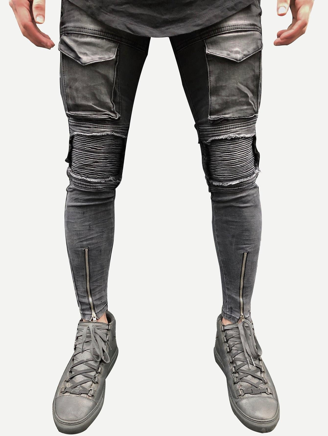 Men Zip And Pocket Decoration Destroyed Skinny Jeans nostalgia retro design fashion men jeans european stylish dimensional knee frayed hole destroyed ripped jeans men biker jeans