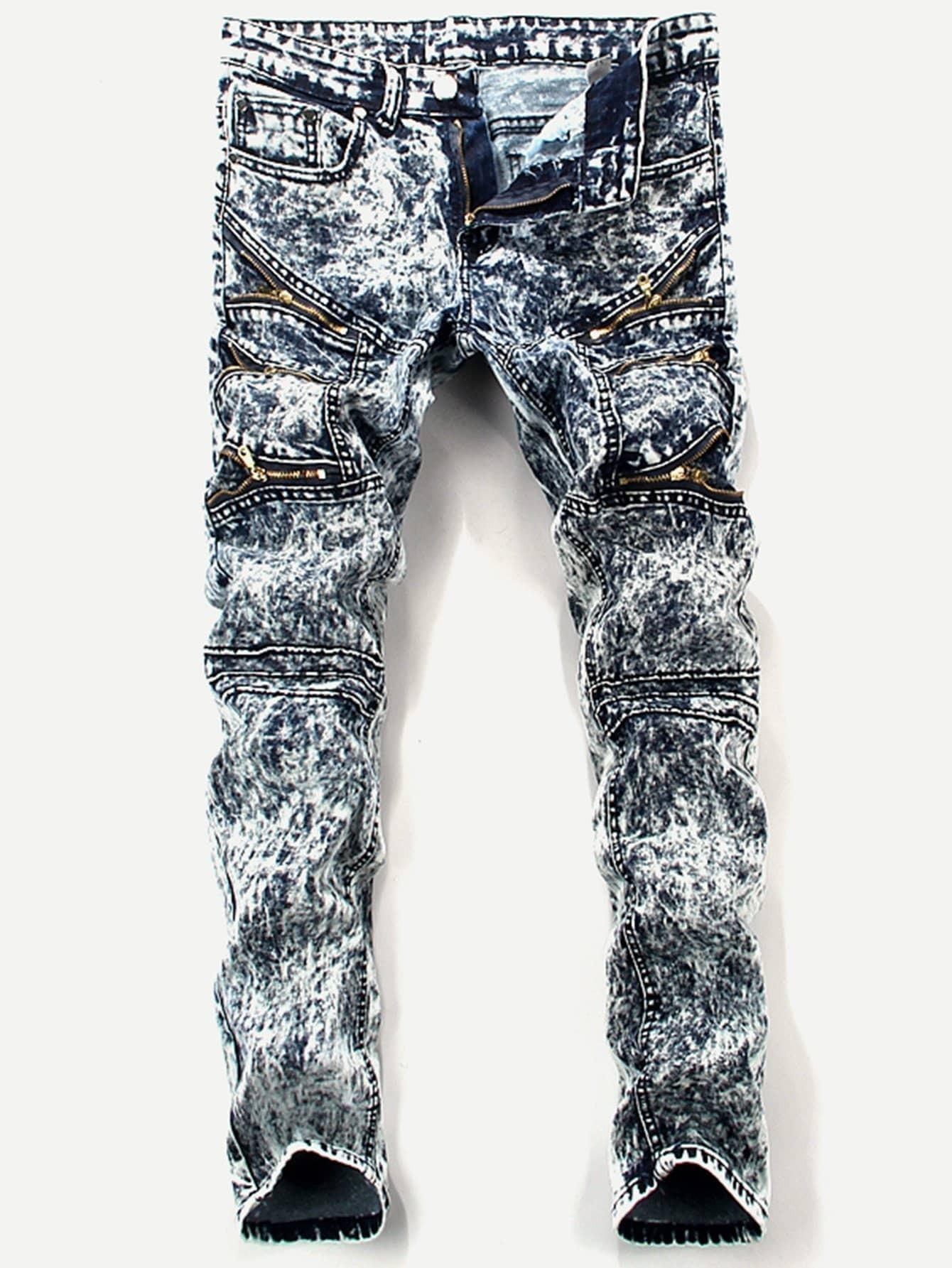 Men Zip Decoration Tie Dye Skinny Jeans men s classic jeans straight full length casual hip hop zip pocket biker jeans fashion slim skinny jeans men big sizes 29 42