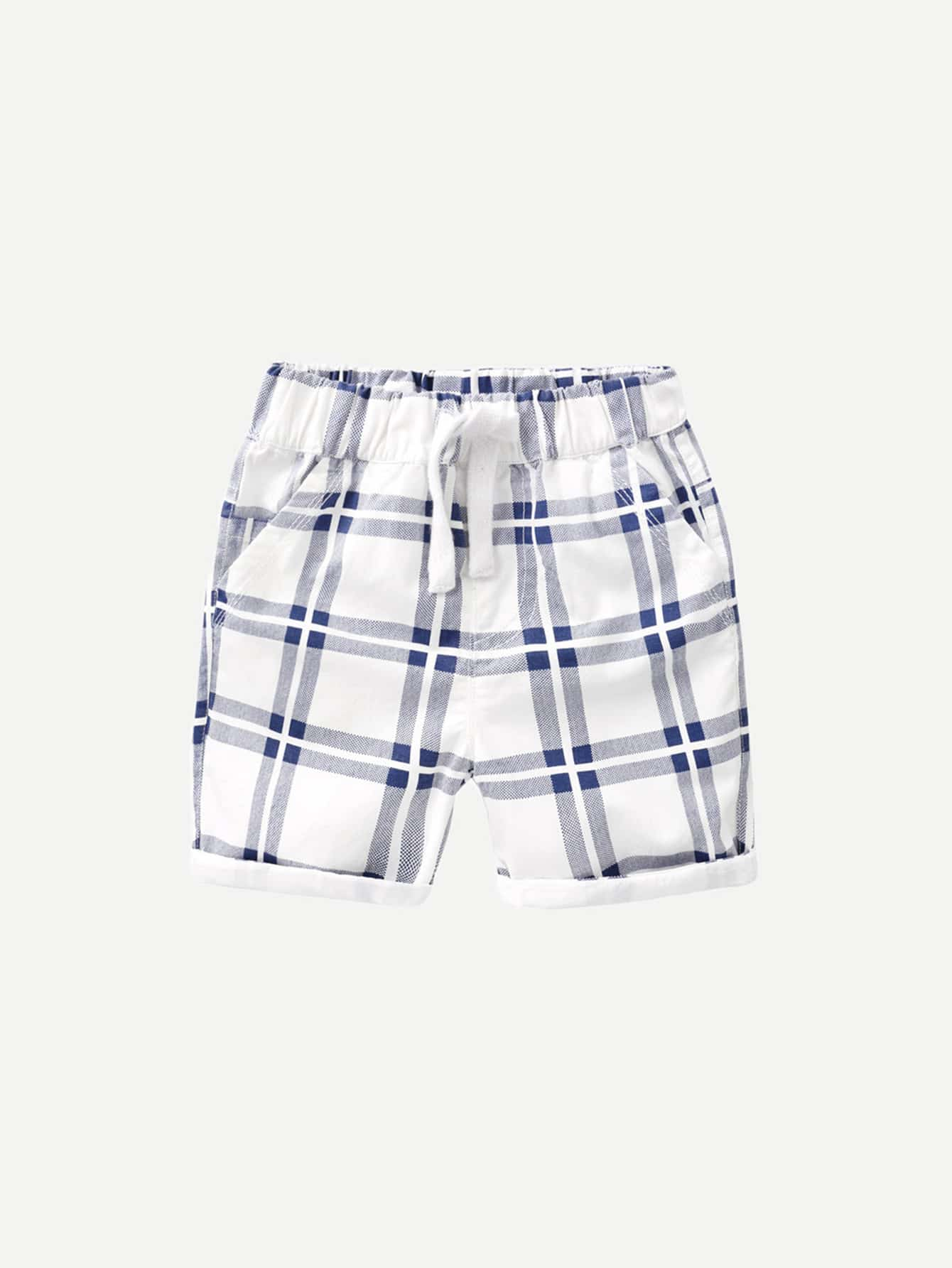 Boys Plaid Rolled Hem Drawstring Shorts цена 2017