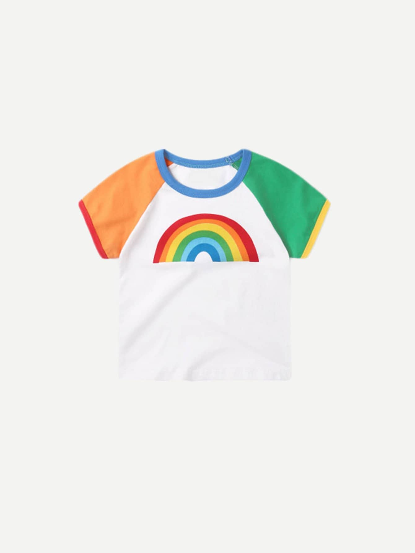 Boys Rainbow Print Ringer Tee cartoon print ringer tee