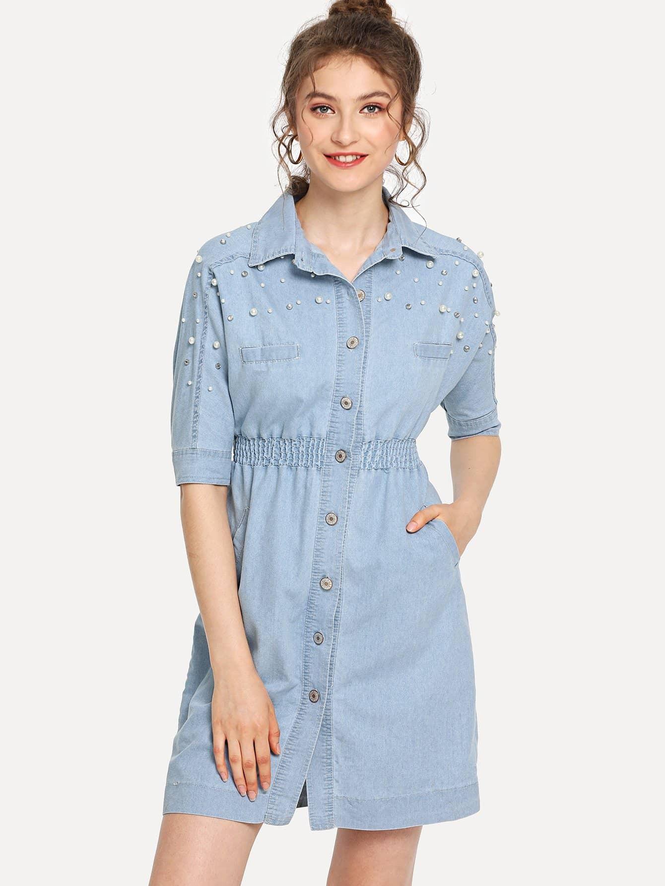 Elastic Waist Button Denim Dress elastic waist button denim dress