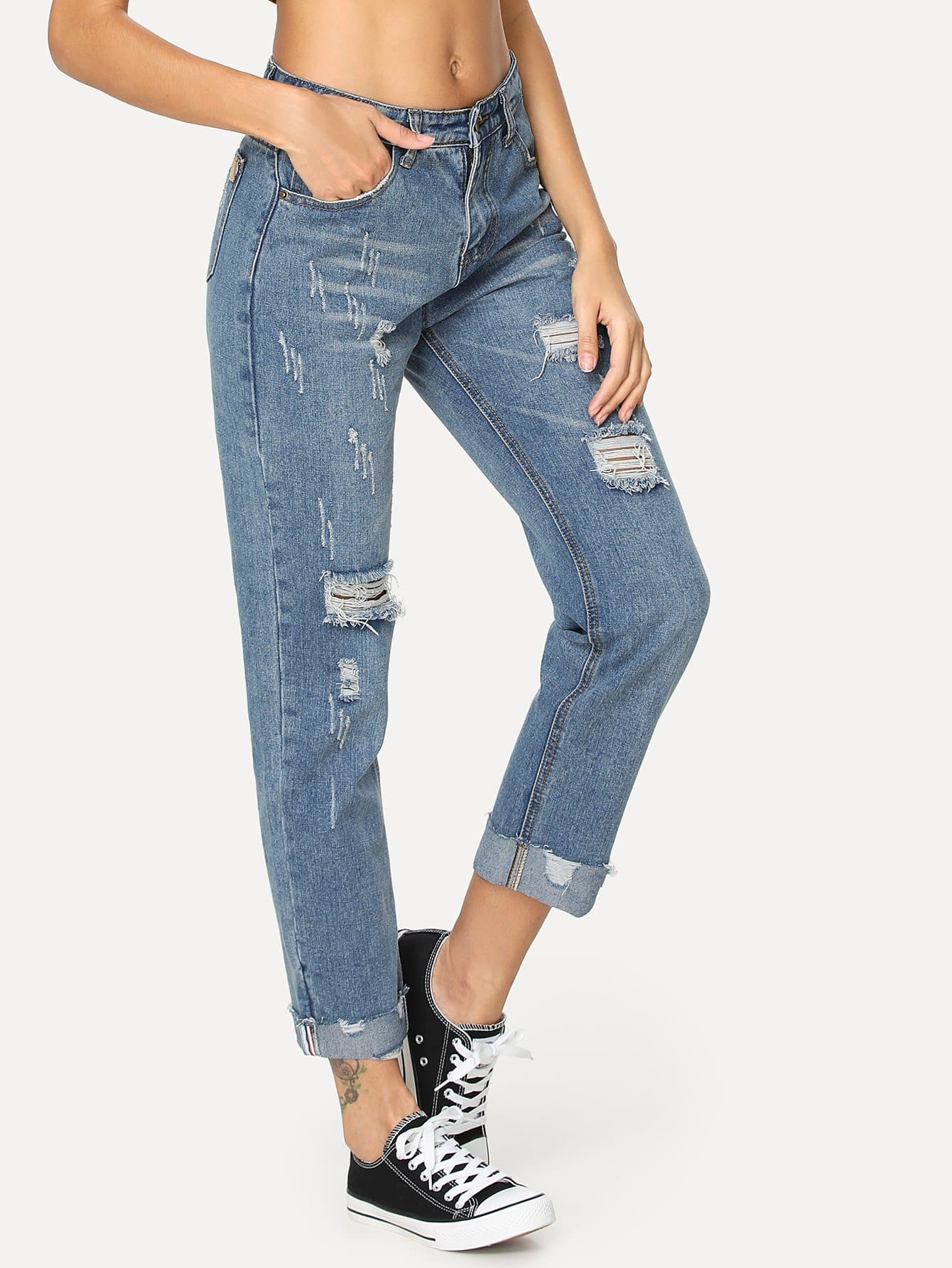 Frayed Hem Ripped Jeans ripped skinny frayed hem jeans