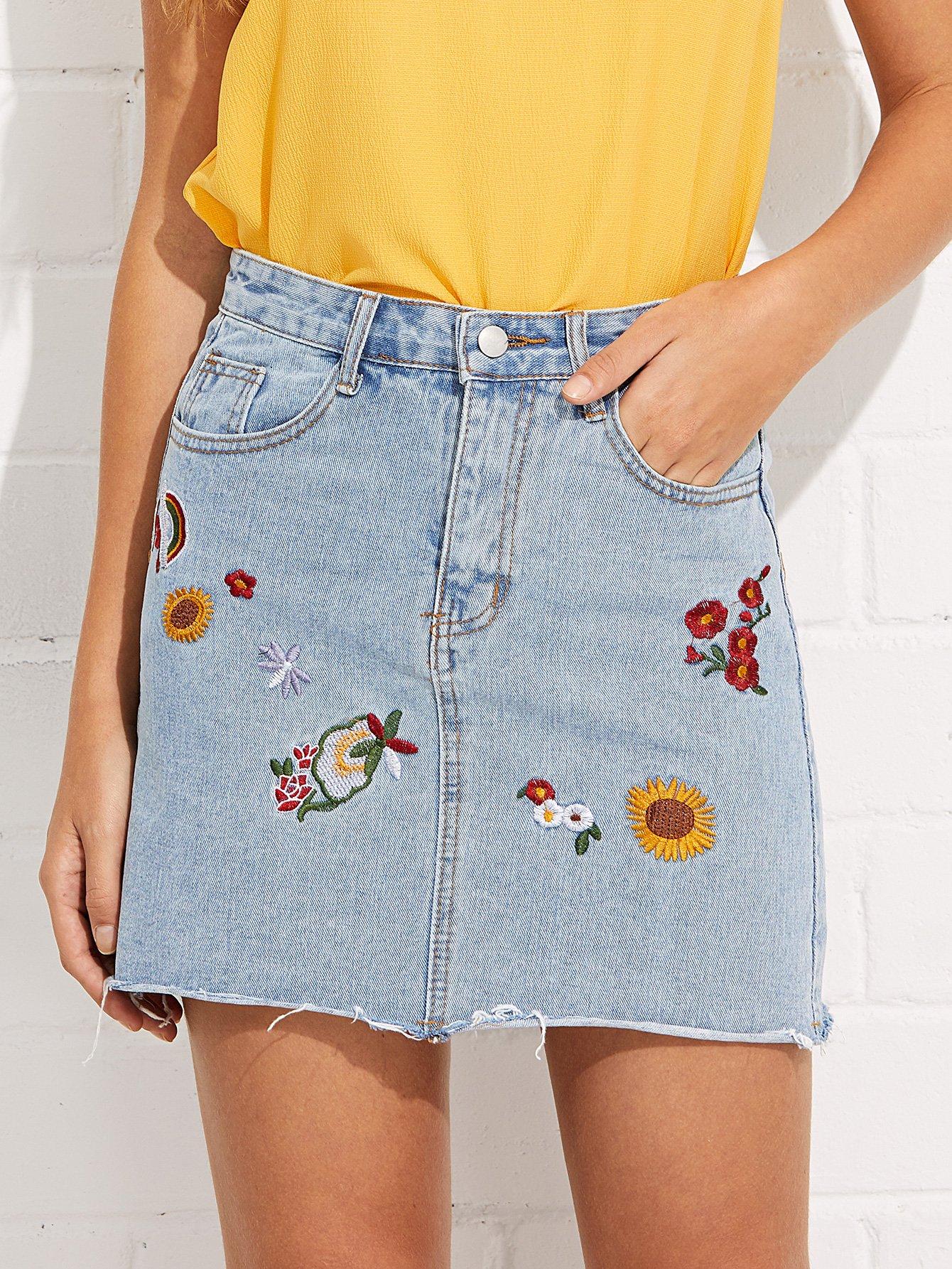Flower Embroidered Denim Skirt