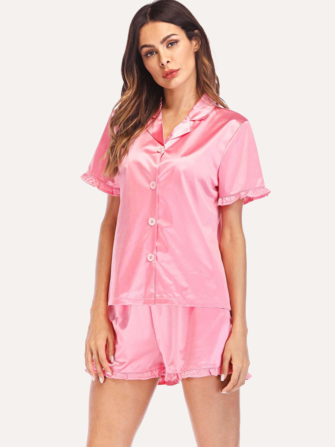 Frill Trim Shirt & Shorts PJ Set frill trim shirt