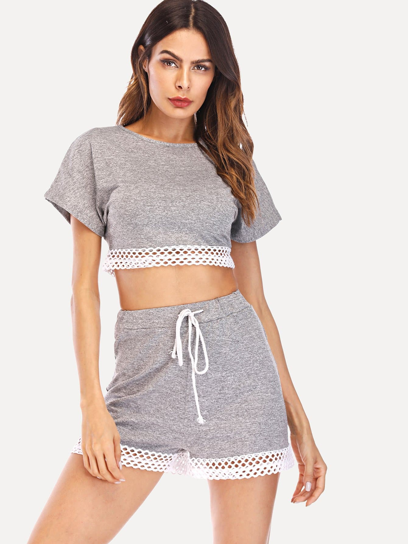 Eyelet Crop Top & Drawstring Waist Shorts PJ Set black choker sleeveless crop top