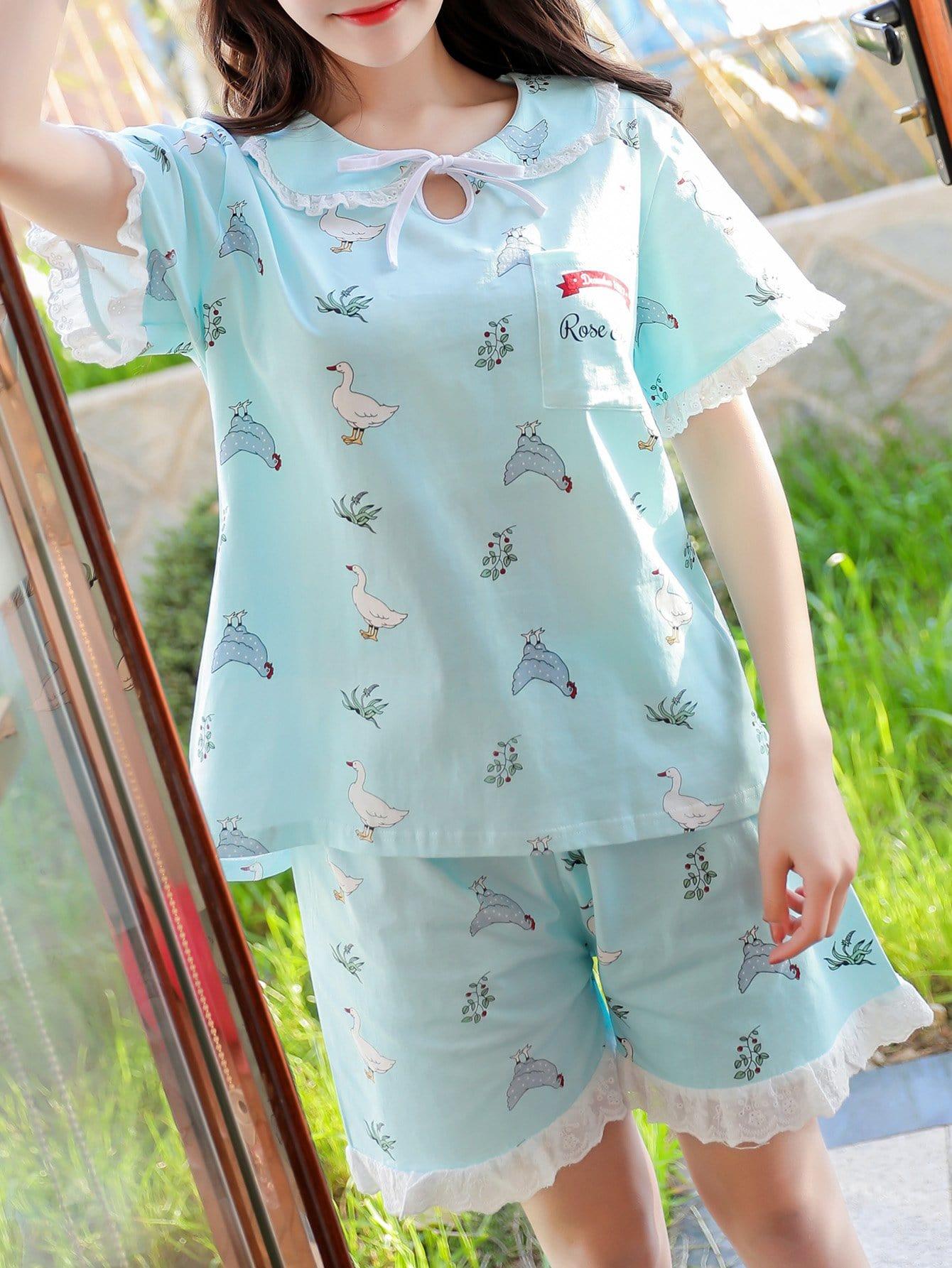 Cartoon Print Frill Trim Pajama Set cartoon print frill trim cami pajama set