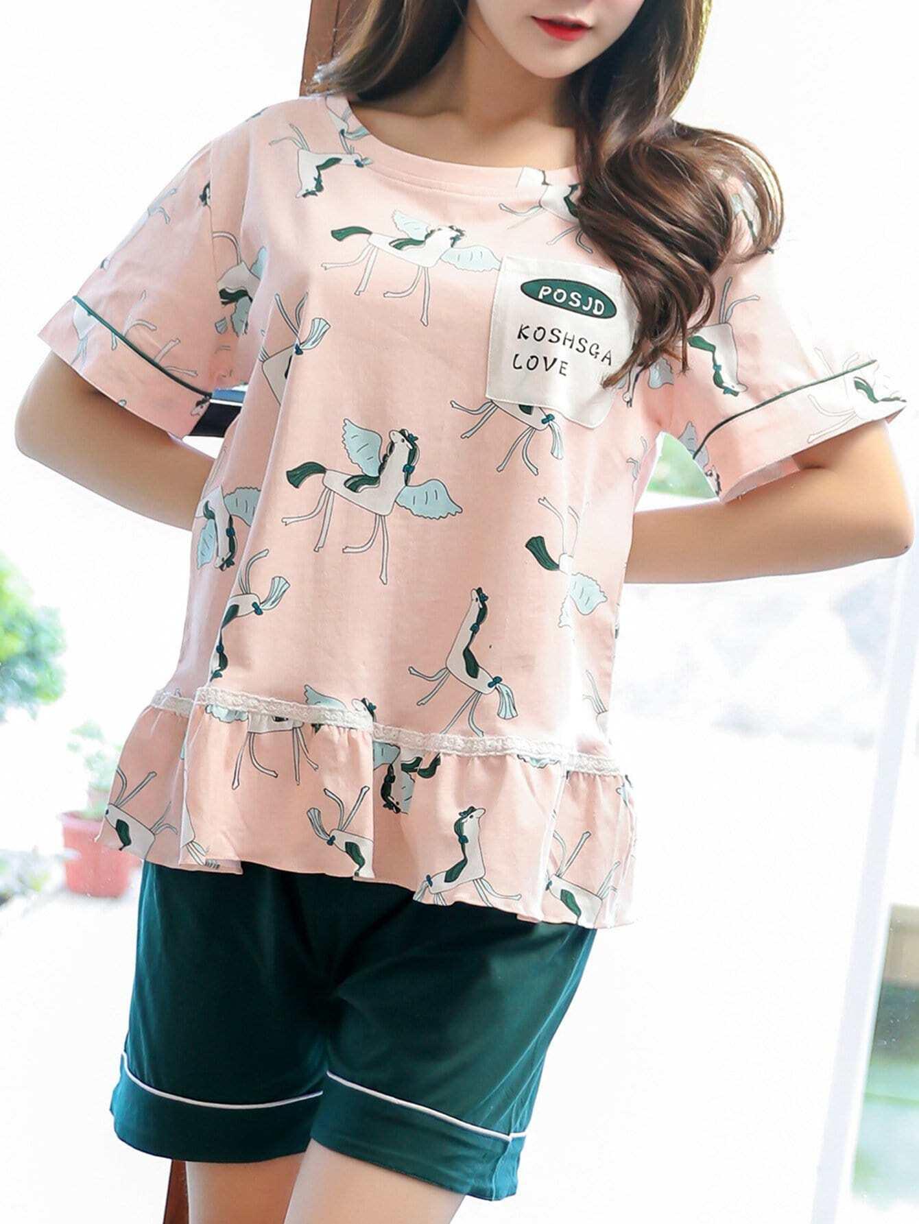 Купить Комплект пижамы с принтом мультики и надписью и оборками, null, SheIn