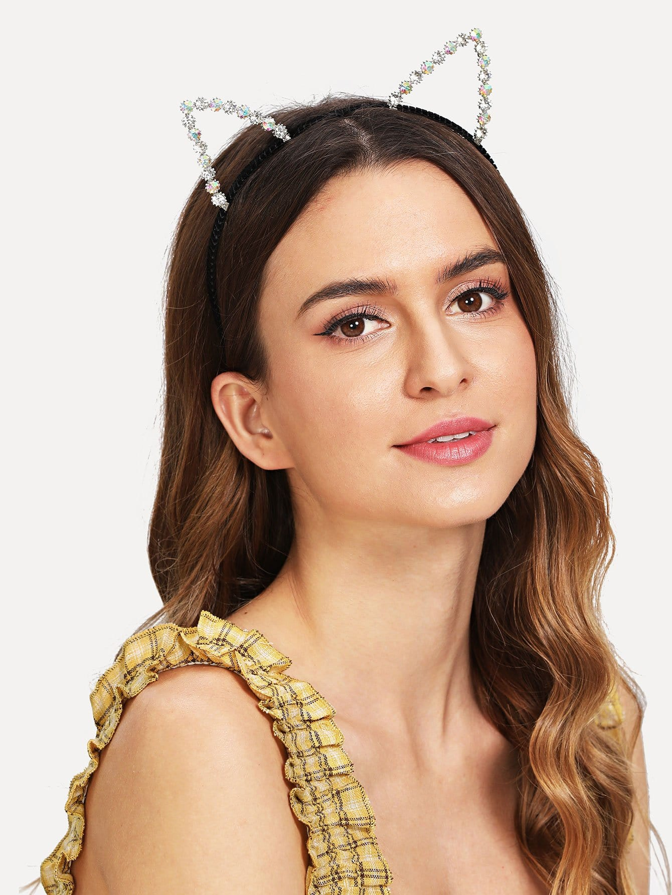 Cat Ear Design Headband With Rhinestone stripe print ear design kids headband