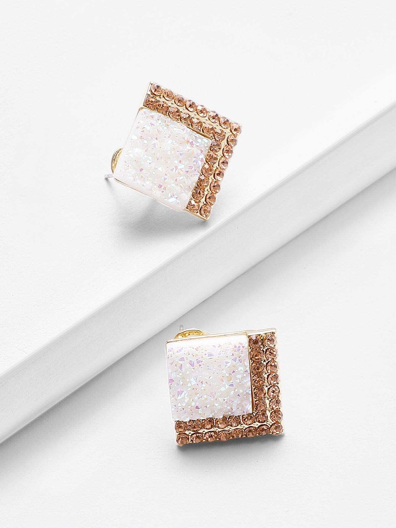 Two Tone Gemstone Stud Earrings two tone metal drop earrings
