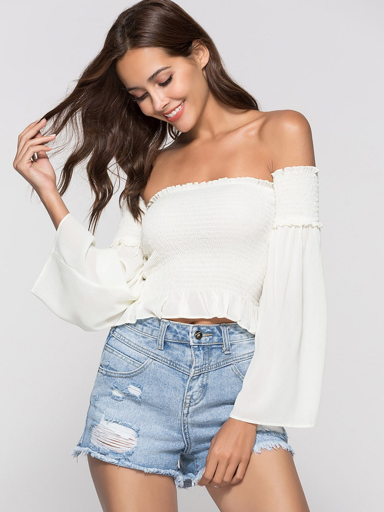 Off-Shoulder Frill Trim Top off shoulder frill trim crop top