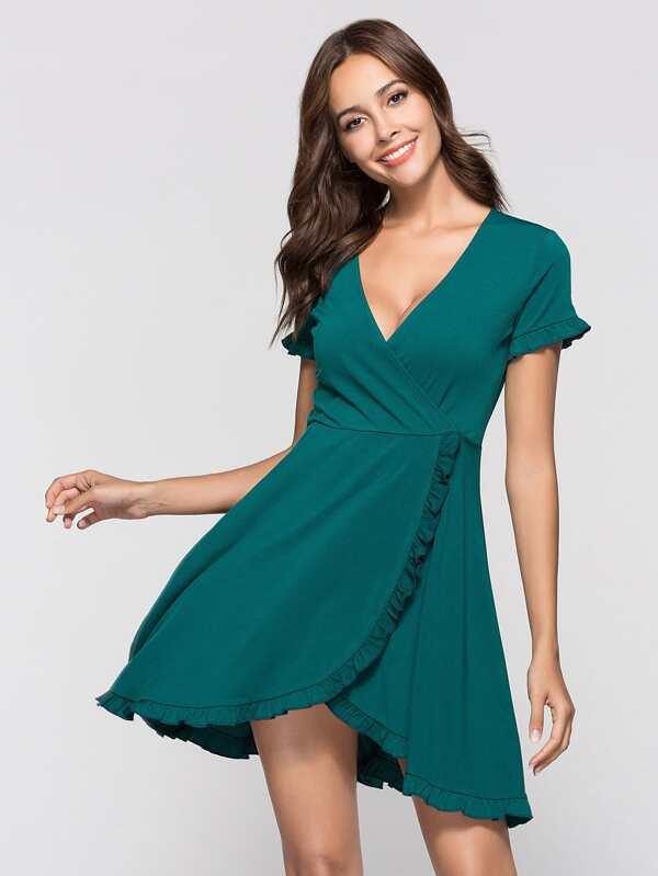 Deep V Neckline Frill Trim Dress by Sheinside