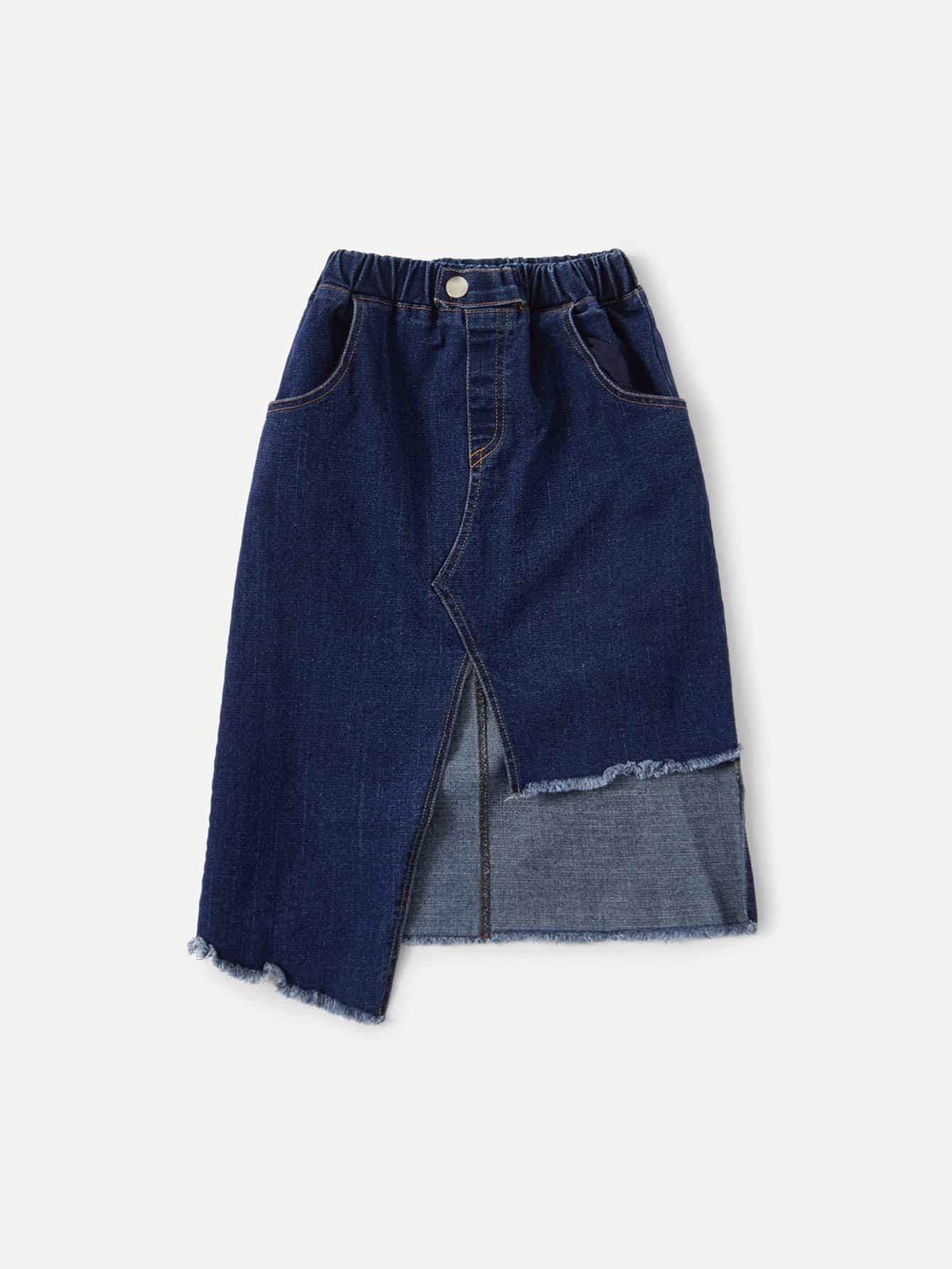 Girls Raw Hem Pocket Detail Skirt girls single breasted raw hem skirt