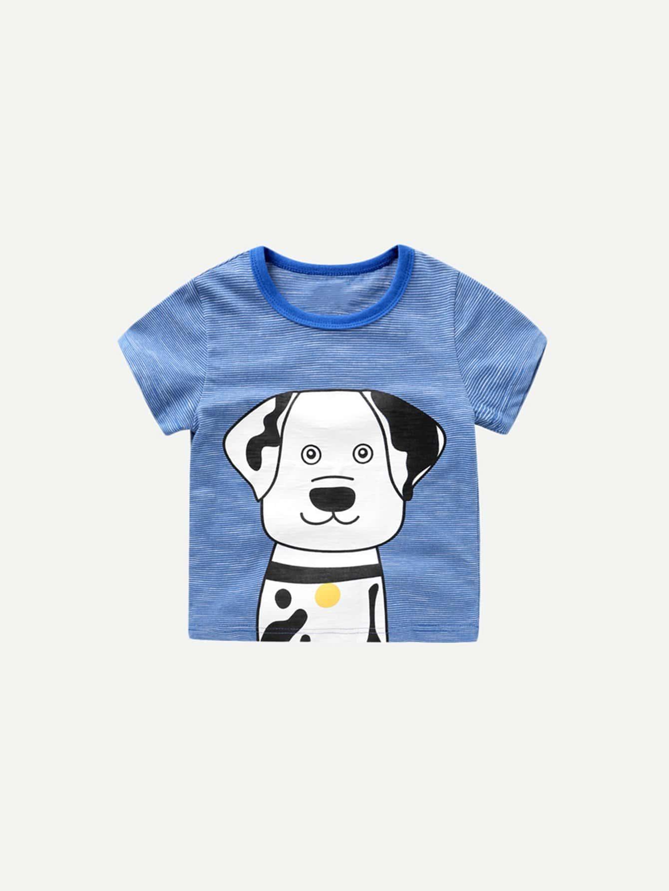 Boys Dog Print Striped Tee boys tee