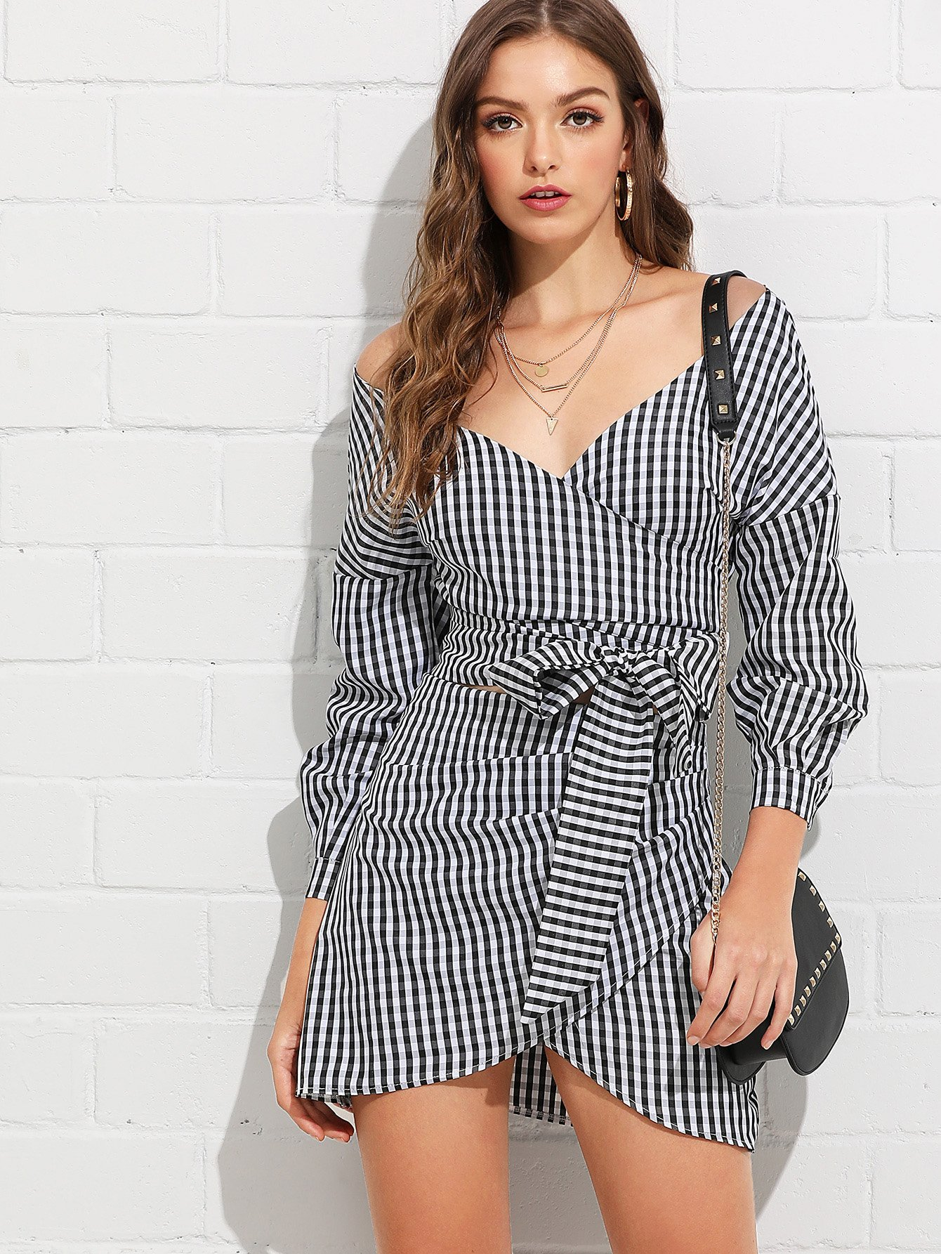 V-Neckline Knot Wrap Plaid Top With Skirt zip up back knot plaid top