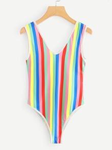 V Cut Back Rainbow Striped Bodysuit