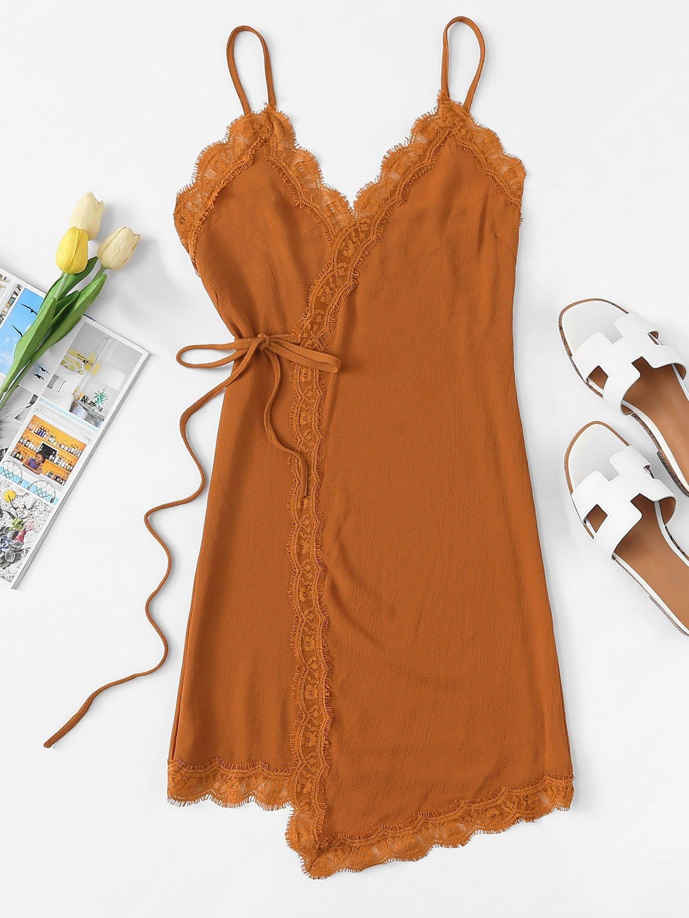Eyelash Lace Trim Wrap Cami Dress