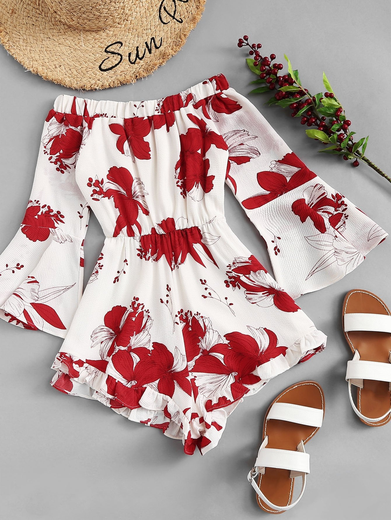 Off Shoulder Floral Print Flounce Sleeve Jumpsuit flounce off shoulder floral dress