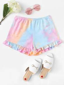 Frill Hem Water Color Shorts