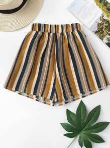 Elastic Waist Vertical-Striped Shorts