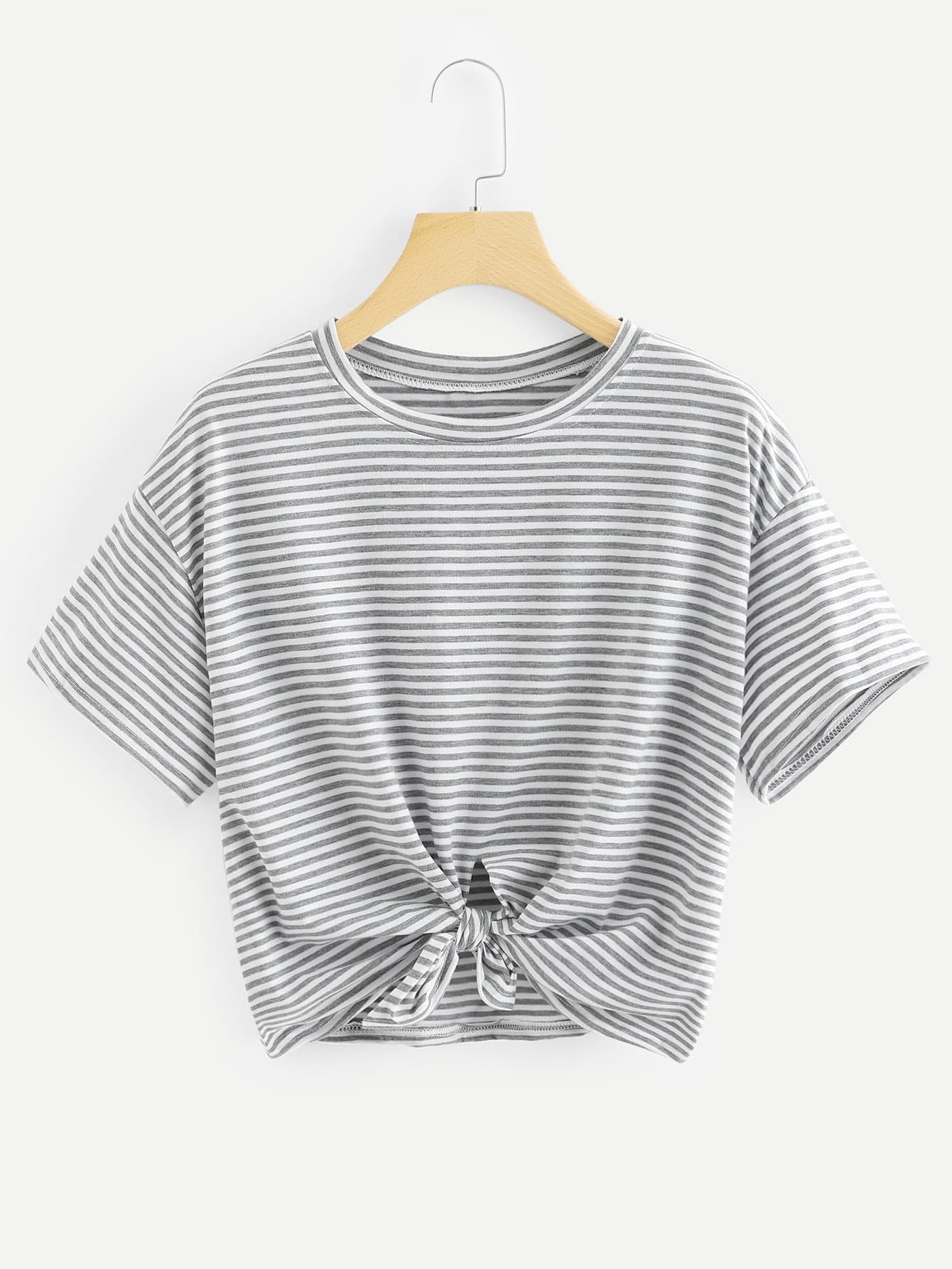 Knot Front Striped Tee front