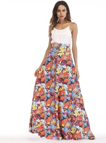 Floral Print Longline Skirt