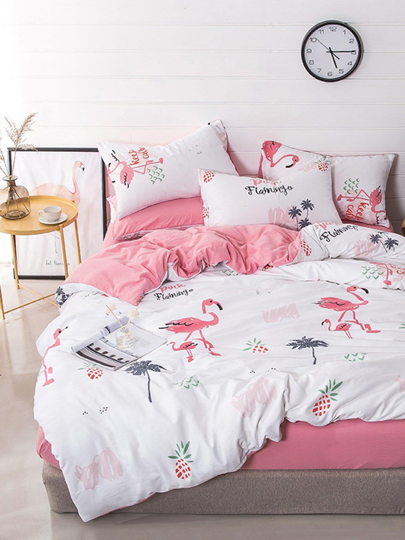 Купить Комплект постельного белья фламинго и ананас, null, SheIn