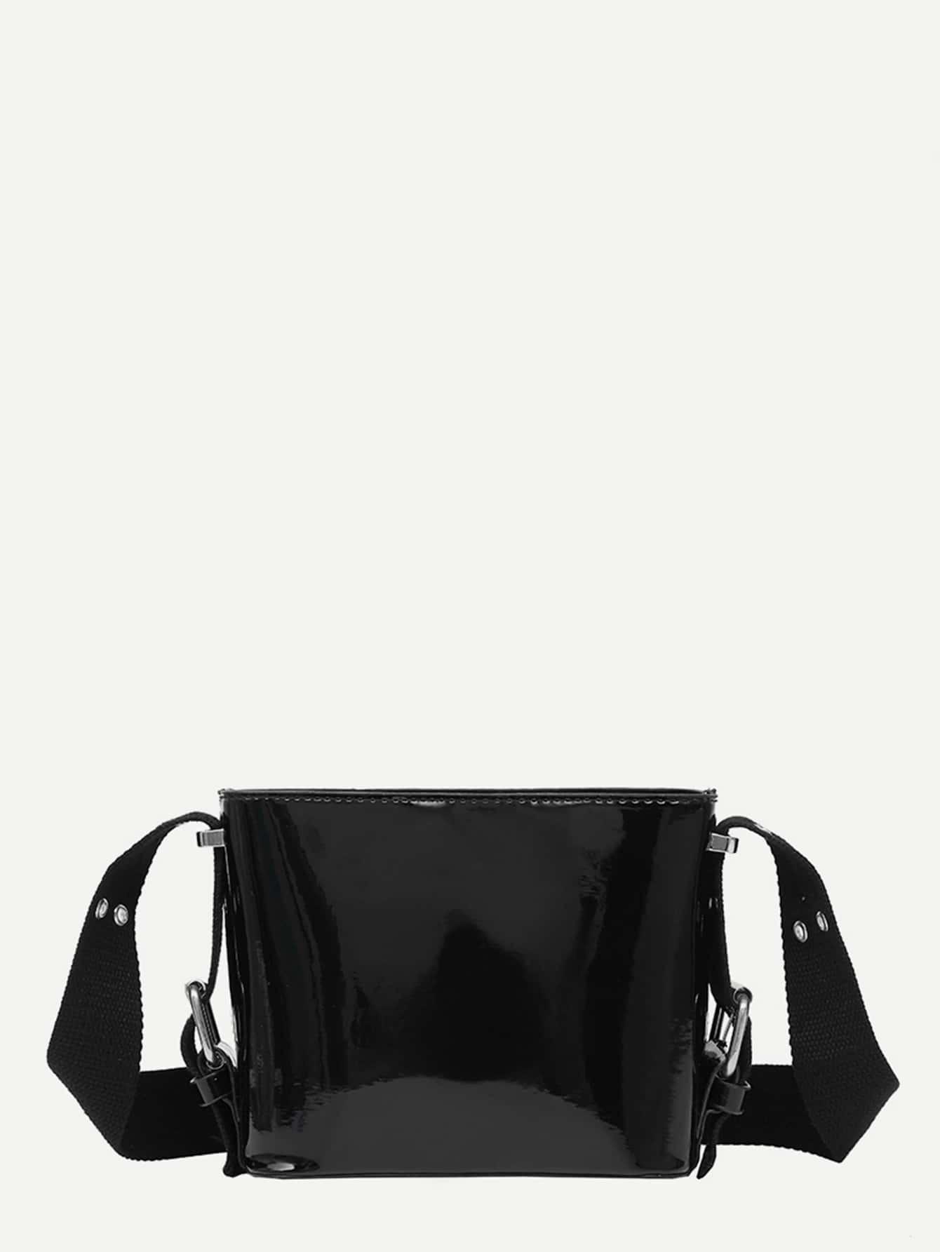 Grommet Detail Strap PU Crossbody Bag contrast pu grommet detail dress with necklace