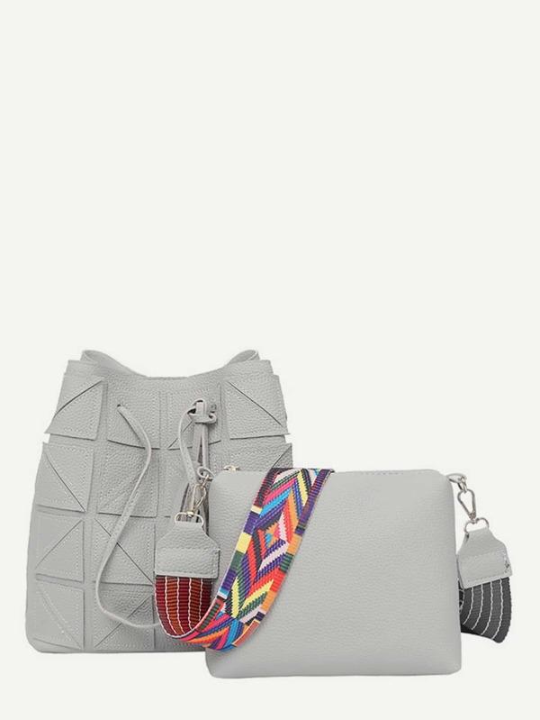 Tassel Decorated Tote Bag & Shoulder Bag Set by Sheinside
