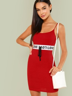 Ribbed Knit Mini Dress with Letter Print Band
