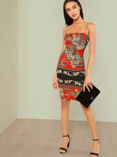 Scarf Print Bodycon Cami Dress