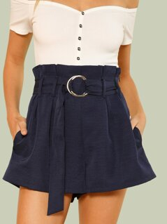 O-Ring Belted Paper Bag Shorts