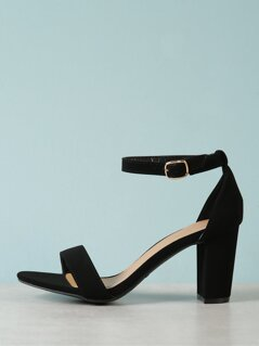 Patent Single Band Ankle Strap Heel