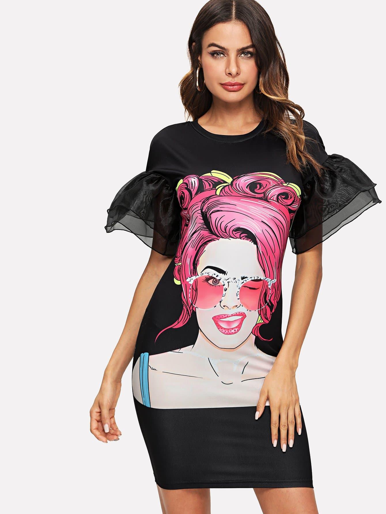 Figure Print Layered Organza Ruffle Sleeve Dress layered organza skirt