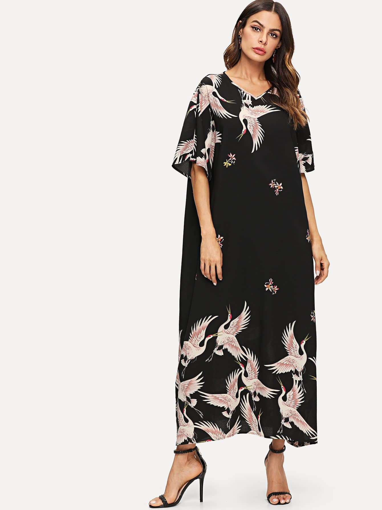 Red-crowned Crane and Floral Print Oversized Dress iron crowned
