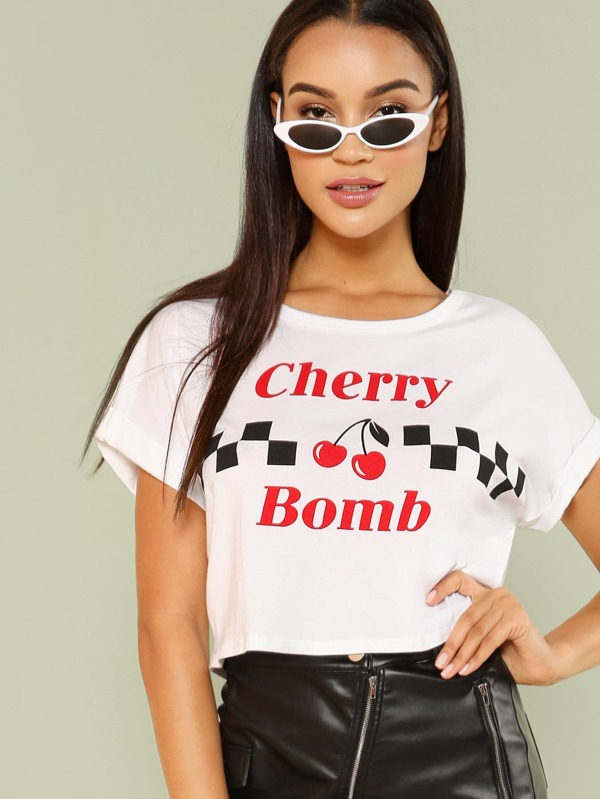 Slogan And Graphic Print Crop Tee by Sheinside