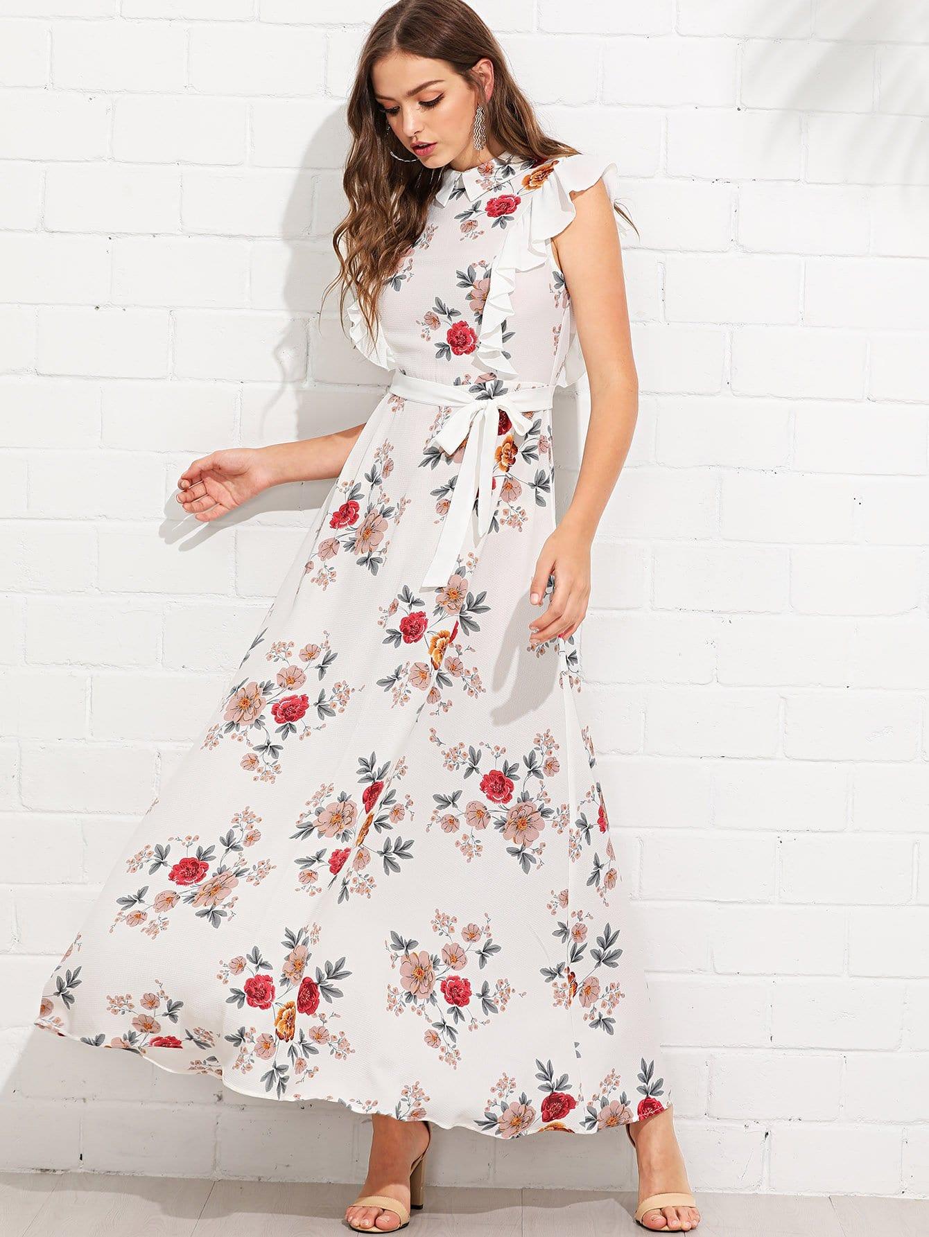 Ruffle Trim Self Belted Flower Print Collar Dress self belted solid ruffle trim dress