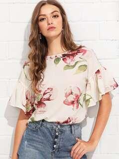 Flounce Sleeve Button Keyhole Floral Top